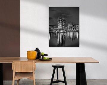 Nijmegen bei Nacht #2 (schwarz-weiß) von Lex Schulte