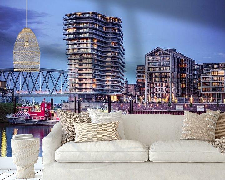 Sfeerimpressie behang: Nijmegen by night #7 van Lex Schulte