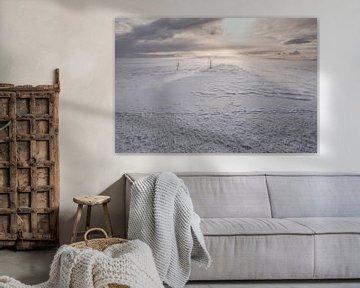 sneeuwlandschap in noorwegen, scandinavie van Marije Baan