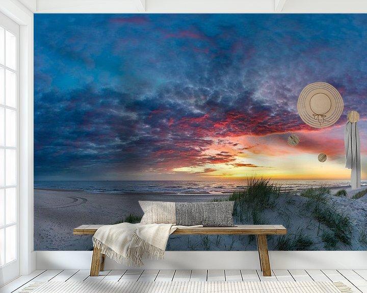 Sfeerimpressie behang: Texel Paal 12 na de zonsondergang van Texel360Fotografie Richard Heerschap