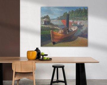 Sleepboten langs de schelde in Dendermonde  - olieverf op doek van Galerie Ringoot