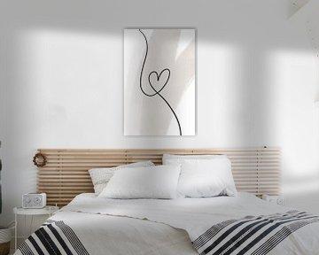 Moderne Abstracte Kunst - Lijnen hart van Studio Malabar