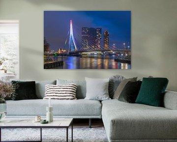 De Erasmusbrug in Rotterdam in Rood Wit Blauw vanuit de Leuvehaven