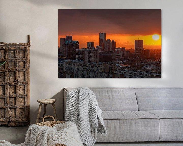 Beispiel: Der Sonnenuntergang über dem Stadtzentrum von Rotterdam von MS Fotografie | Marc van der Stelt
