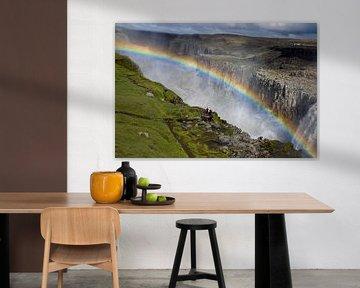 jokulsa a fjollum watervallen met regenboog, IJsland van Jan Fritz