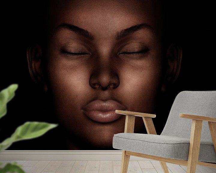 Sfeerimpressie behang: Portret van een dromende vrouw van Jan Keteleer