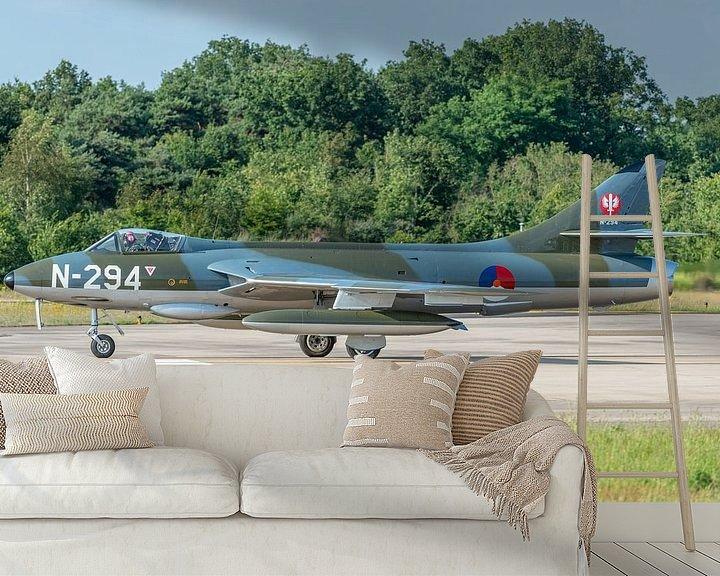 Sfeerimpressie behang: Ready for take-off! Hawker Hunter F.6A (N-294) van de Dutch Hawker Hunter Foundation. van Jaap van den Berg