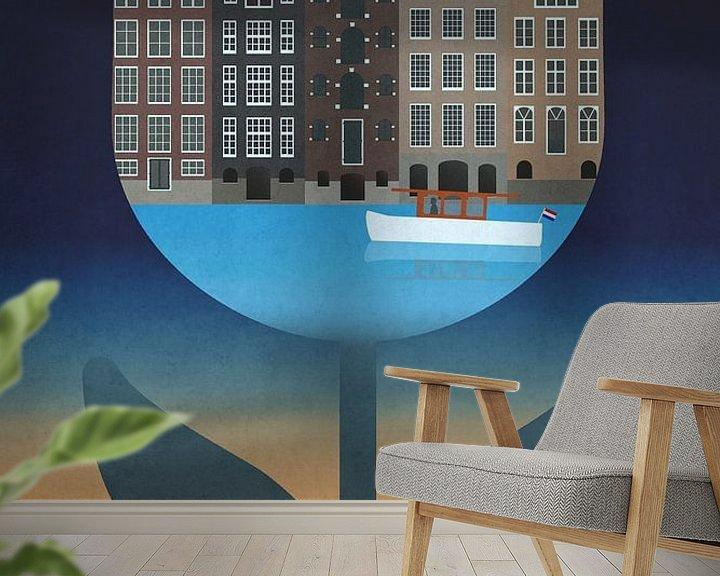 Impression: Amsterdam, affiche vintage avec maisons de canal dans une tulipe sur Roger VDB