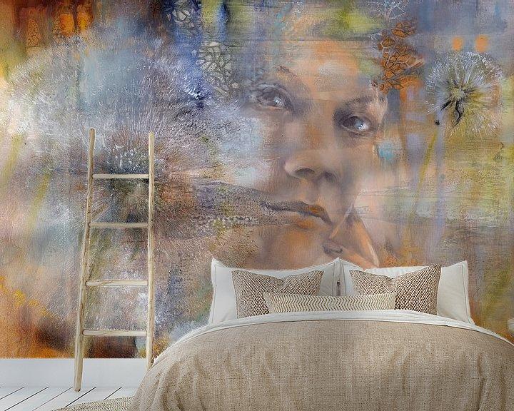 Sfeerimpressie behang: Tenderly - Nora and the Dandelions van Annette Schmucker