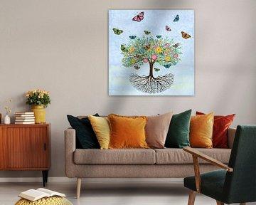 Levensboom met vlinders en bloemen van Bianca Wisseloo