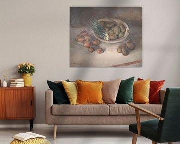 Nature morte avec oignons et pommes de terre sur Galerie Ringoot