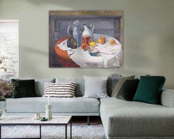 Stilleven met kannen, kruiken appels en citroenen van Galerie Ringoot