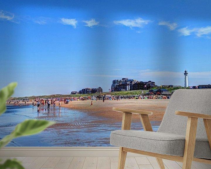 Sfeerimpressie behang: Egmond aan Zee Strand Vuurtoren van Hendrik-Jan Kornelis