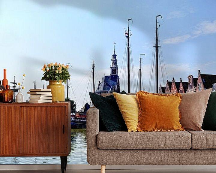 Sfeerimpressie behang: Panorama Hoorn Oude Haven Kruittoren Noord-Holland Nederland van Hendrik-Jan Kornelis