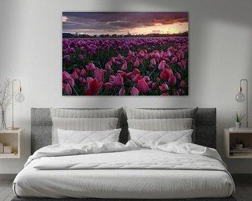 Texel Den Hoorn mit Tulpenfeld von John Leeninga