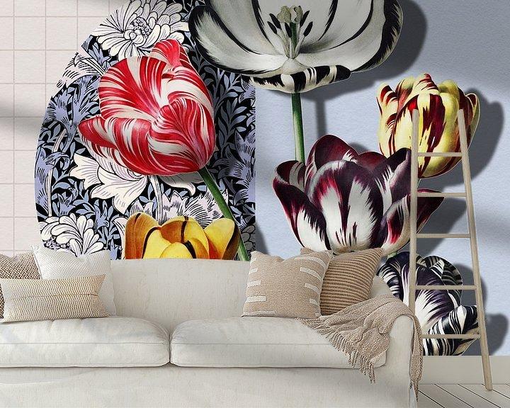 Impression: Collage 3D avec des tulipes sur Marja van den Hurk