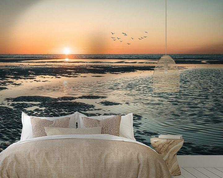 Sfeerimpressie behang: Zonsondergang op het strand van Norderney van Steffen Peters