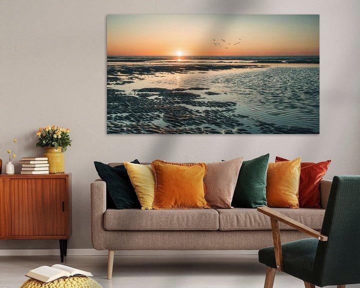 Sfeerimpressie: Zonsondergang op het strand van Norderney van Steffen Peters
