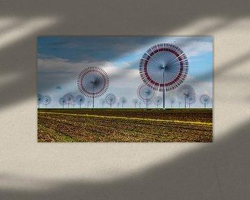 Windpark im Norden Deutschlands (Nordsee) mit sehr schnell drehenden Windmühlen von MPfoto71