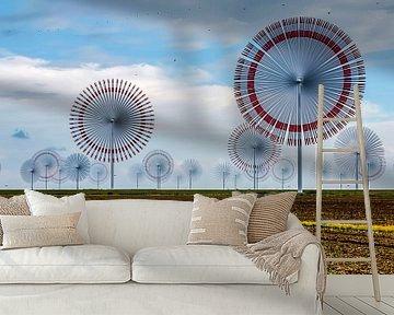 Windmolenpark in het noorden van Duitsland (Noordzee) met zeer snel draaiende windmolens van MPfoto71