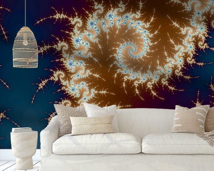 Sfeerimpressie behang: Kleurrijke fractal - Wiskunde - Mandelbrotverzameling - Appleman van MPfoto71