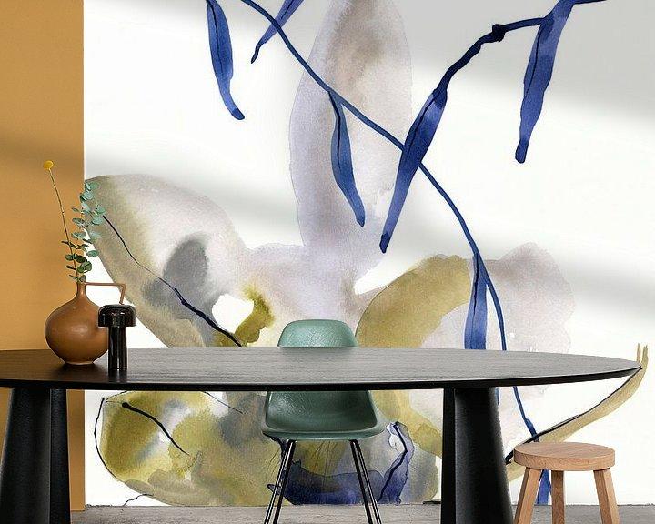 Sfeerimpressie behang: Denim floral van Brigitte Bazuin