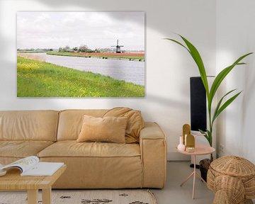 Molen in een tulpenveld aan het water | Typisch Nederlands landschap | Fotografie wall art  Holland van Milou van Ham