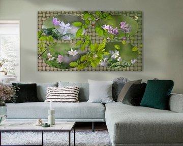 Bosanemonen in een collage van Carla van Zomeren