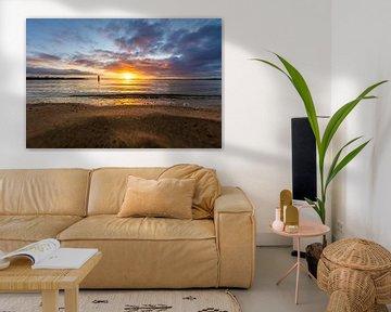 zonsondergang aan strand