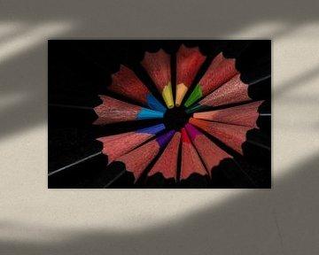 Een rondje gekleurde potloden