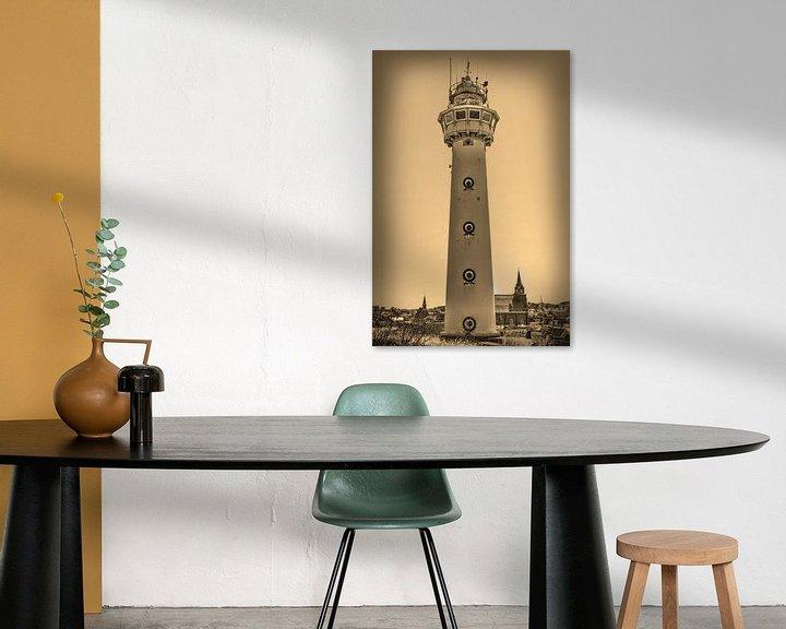 Sfeerimpressie: Egmond aan Zee Strand Vuurtoren Sepia van Hendrik-Jan Kornelis