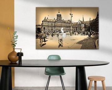 Federzeichnung Sepia Dam Amsterdam Niederlande Strichzeichnung von Hendrik-Jan Kornelis