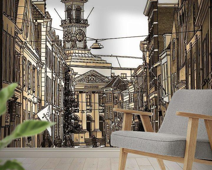 Beispiel fototapete: Federzeichnung Dordrecht Rathaus Sepia Zeichnung Linie von Hendrik-Jan Kornelis