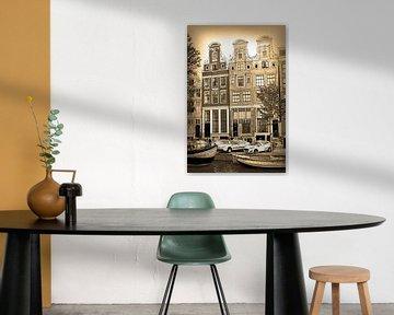 Dessin sépia Herengracht 59-63 Amsterdam Dessin au trait au crayon sur Hendrik-Jan Kornelis