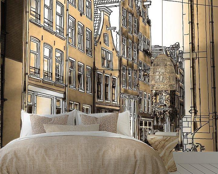 Sfeerimpressie behang: Pentekening Sepia Noordermarkt Tekening Amsterdam Lijntekening van Hendrik-Jan Kornelis