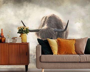 Schotse hooglander fine art bewerking in de mist van KB Design & Photography (Karen Brouwer)
