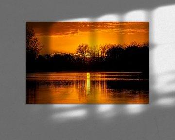 Goldener Sonnenuntergang an den Amsterdamer Wasserversorgungsdünen von John Ozguc