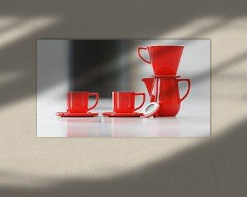 Kaffee Kanne mit Filter und Tassen rot von Markus Gann