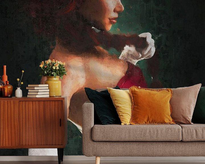 Sfeerimpressie behang: Rood Geschilderd Portret van Arjen Roos