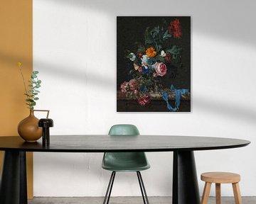 Stilleben mit Blumen und Uhr, Low Poly