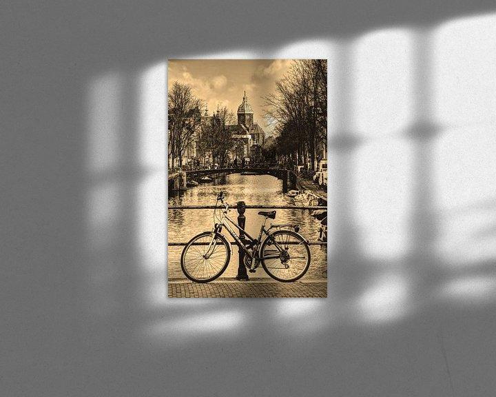 Sfeerimpressie: Binnenstad van Amsterdam in de Winter Sepia van Hendrik-Jan Kornelis