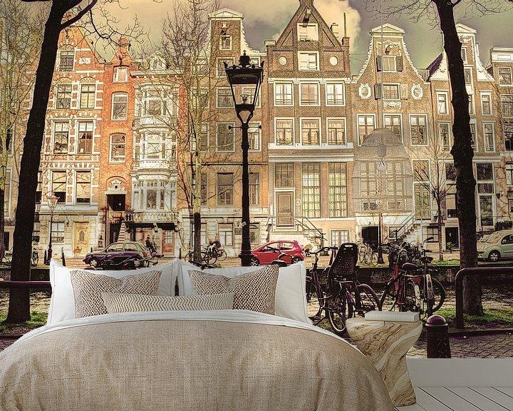 Sfeerimpressie behang: Binnenstad van Amsterdam in de Winter Oud van Hendrik-Jan Kornelis