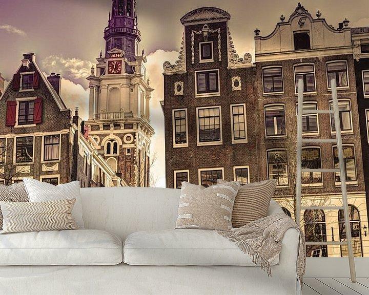 Sfeerimpressie behang: Zuiderkerk Amsterdam Kloveniersburgwal Winter Oud van Hendrik-Jan Kornelis