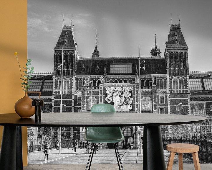 Sfeerimpressie behang: Rijksmuseum Amsterdam Winter Zwart-Wit van Hendrik-Jan Kornelis