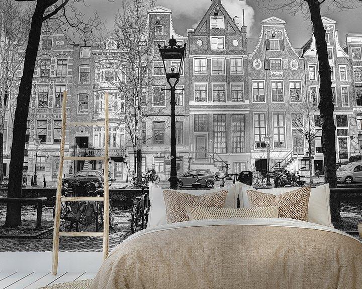 Sfeerimpressie behang: Binnenstad van Amsterdam Nederland Zwart-Wit van Hendrik-Jan Kornelis