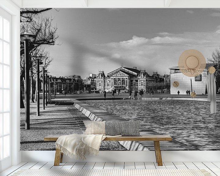 Sfeerimpressie behang: Museumplein Van Gogh Museum Concertgebouw Amsterdam Winter Zwart-Wit van Hendrik-Jan Kornelis