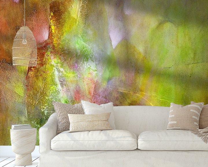 Beispiel fototapete: Das Licht - Komposition in grün, gelb und einer Spur pink von Annette Schmucker