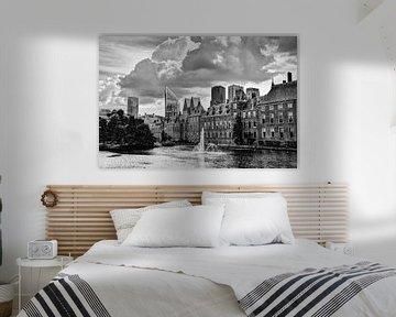 Binnenhof von Den Haag Niederlande Schwarz und Weiß von Hendrik-Jan Kornelis