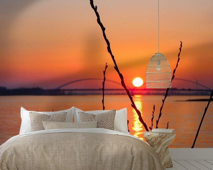 Sfeerimpressie behang: Zonsondergang  Merwede van Rosalinde Bijl