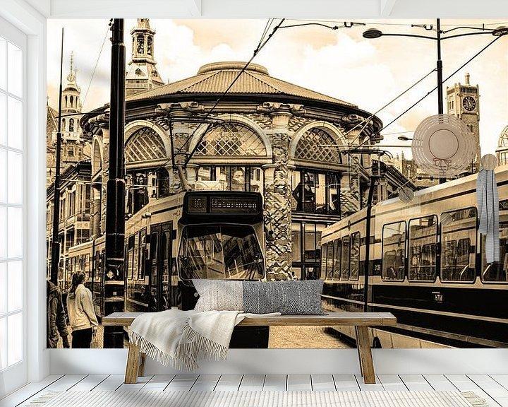 Beispiel fototapete: Innere Stadt von Den Haag Niederlande Sepia von Hendrik-Jan Kornelis